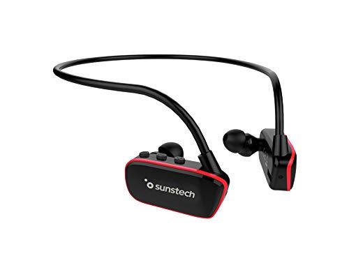 Sunstech Argos - Reproductor MP3 de 8GB, Sumergible, Impermeable, IPX8, Diseñado para el Deporte y la Natación, Batería Recargable 200 mAh, Almohadillas Terrestres y Acuáticas Incluidas, Negro/Rojo