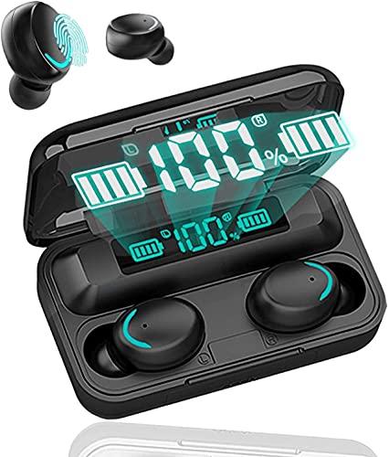 Auriculares inalámbricos Bluetooth 5.0 con reducción de Ruido, Auriculares Deportivos con IPX7, Auriculares estéreo Impermeables en el oído Integrado HD Mic Auriculares para Android e iOS (Negro)