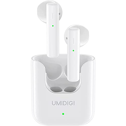Auriculares Inalámbricos, UMIDIGI AirBuds U Auriculares Bluetooth 5.1, Auriculares Internos Control Táctil Wireless Earphones Deportivos Tiempo de Reproducción de 24h con Caja de Carga (Blanco)