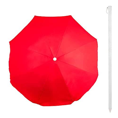 Aktive 53845 - Sombrilla de playa, Sombrilla con protección UV50, Ø220 cm, mástil 32 mm, color rojo, protección solar, Sombrilla playa, sombrilla grande