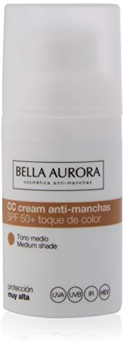 Bella Aurora Crema Facial con Color SPF 50+   CC Cream   Protector Solar Anti-Manchas   Piel Normal o Seca, Tono Medio, 30 ml