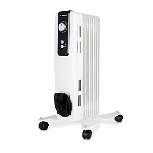Orbegozo RH Radiador de Aceite, 1000W de Potencia, 5 Elementos y diseño en Color Blanco, s, Negro, 1000 W