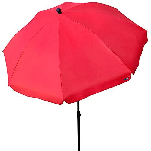 Aktive 85305 - Sombrilla de jardín con protección UV30, mástil flexible altura regulable 28-32 mm, Ø240 cm, Rojo