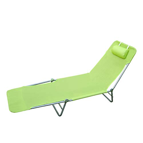 HOMCOM Tumbona Inclinable Plegable para Jardin Playa o Piscina con Almohada Acero y Textilene 182x56x24.5 cm Verde