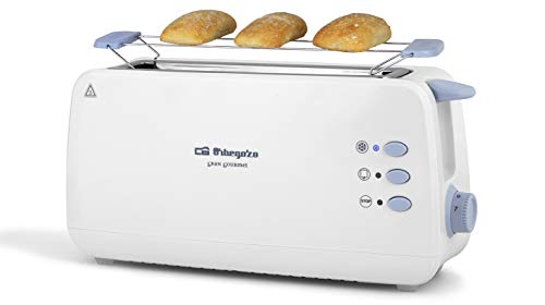Orbegozo TO 4012 - Tostadora de ranura larga, calienta panecillos, 7 niveles de tostado, función descongelación y recalentamiento, bandeja recogemigas, 850 W