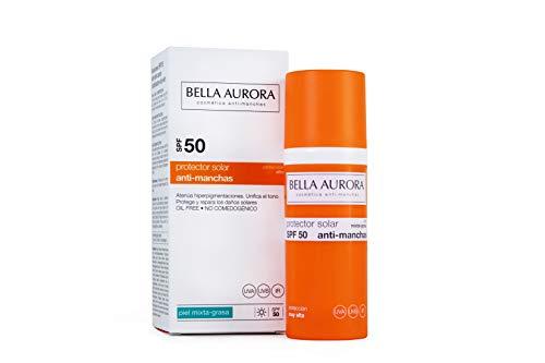 Bella Aurora Protector Solar 50 Facial Anti-Manchas Piel Mixta Grasa, 50 ml   Crema Protección del Sol Cara   Bloqueador Solar