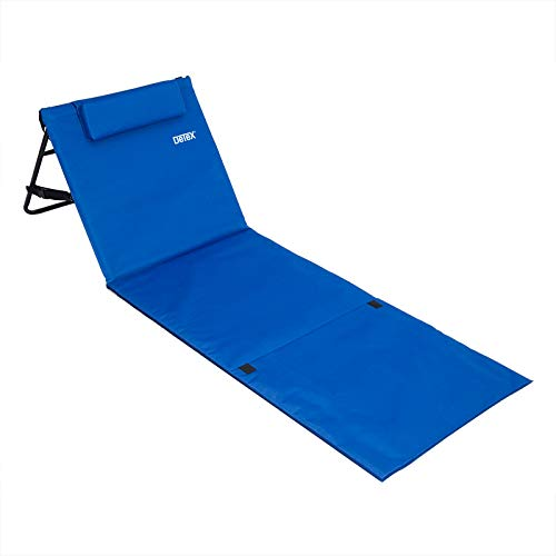Deuba Tumbona Acolchada Azul con Respaldo Regulable y Correa de Transporte Bolsillo con Cremallera Silla Playa Piscina