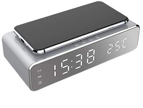 BETTERSHOP™ Despertador de Carga inalámbrico, Despertador Digital LED con Cargador inalámbrico Qi y termómetro para Todos los Dispositivos habilitados para la Carga Qi