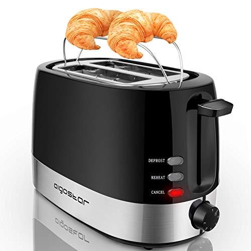 Aigostar Brotchen Black –Tostadoras pan 2 rebanadas con 7 niveles de tostado, 850W. Rejilla calientabollos integrada. Función descongelación y recalentar. Libre de BPA. Diseño exclusivo.