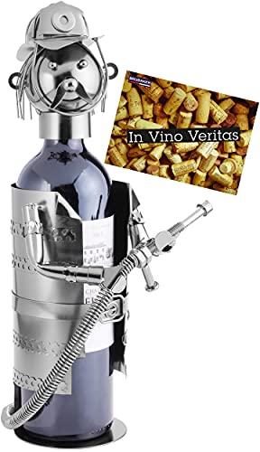 BRUBAKER Soporte para botella de vino con diseño de bombero de metal, con tarjeta de felicitación.