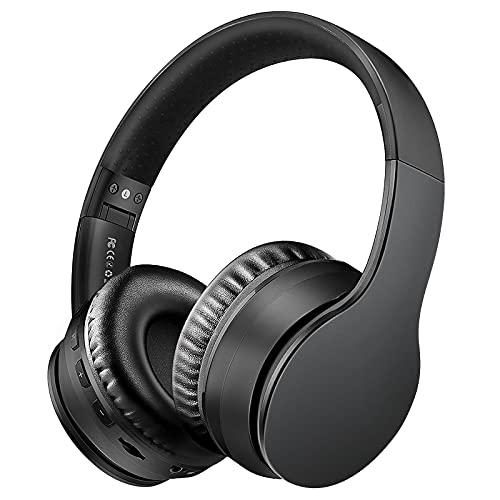 Sunvito Auriculares Bluetooth de Diadema Plegable,4 en 1 Estéreo Bass Inalámbrico Auriculares con Reproductor MP3,FM Radio,Auriculares con Cable,Mic Arriba-Oreja para PC Andriod (Negro)