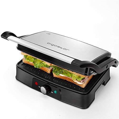 Aigostar Hitte - Parrilla Eléctrica, Grill, Sandwichera y Máquina de Panini,1500W de Potencia, 2 Placas de Cocinado Independientes Antiadherentes, Apertura 180º, Temperatura Regulable.