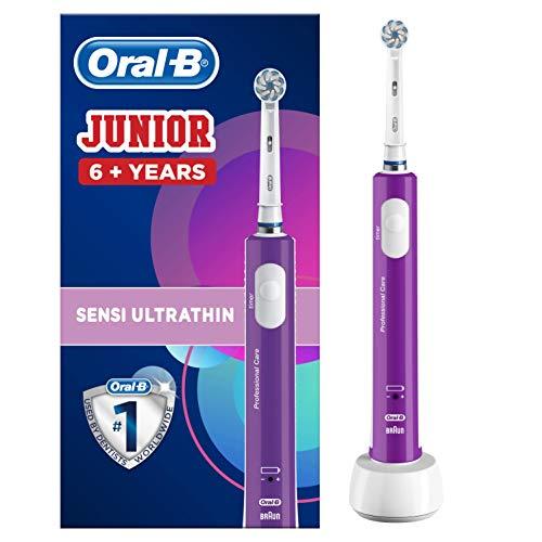 Oral-B Junior Cepillo De Dientes Eléctrico, 1 Mango Morado Recargable Con Tecnología De Braun, 1 Cabezal De Recambio, Apto Para Niños Mayores De 6 años