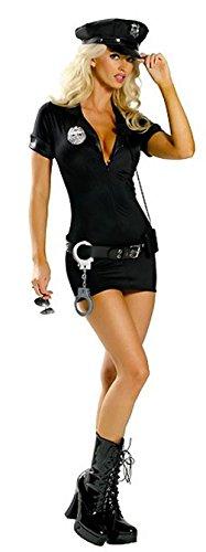Aimerfeel señoras Atractivas del Vestido de Uniforme de policía Negro con el Sombrero de la PU, tamaño 2XL (40-42)