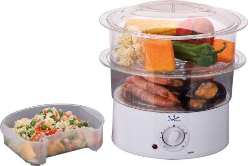 Jata Vapor Vaporera Cocina Sana con 2 Cestas, Capacidad de 3.5 l, Depósito 500 ml, Incluye Recipiente para Arroz o Salsas