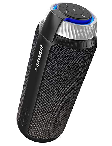 Tronsmart T6 Altavoz Bluetooth Portátil, 25W Sonido Estéreo 360° Altavoz Inalámbrico con Bajos Potentes, Micrófono, Manos Libres, y 15 Horas de Reproducción para Huawei, Xiaomi, Nexus, HTC -Negro
