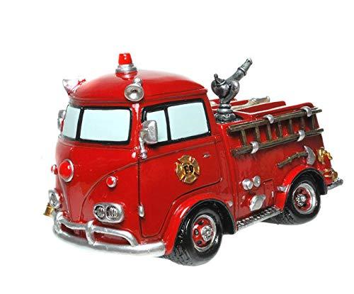 Diseño de camión de bomberos de hucha de rojo