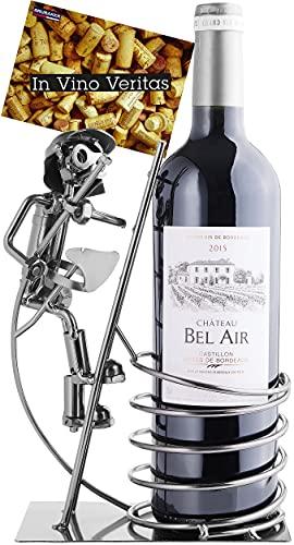 BRUBAKER Soporte de botella de vino bombero en escalera de metal con tarjeta de felicitación