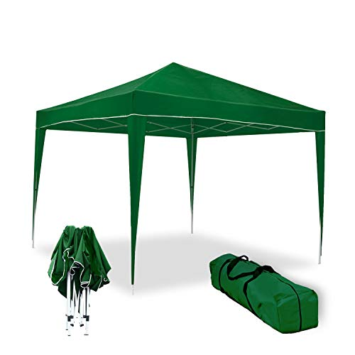 wasabi Carpa Plegable 3x3m Classic Verde de jardín, terraza, Camping, Playa