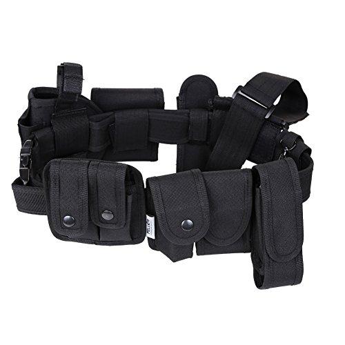 Pellor-Al aire libre de Múltiples Funciones Táctico Correa de Cinturón Kit de Guardia de la Policía de Seguridad Color Negro