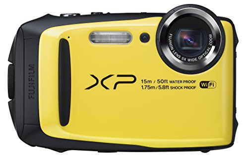 Fujifilm FinePix XP90 - Cámara digital compacta de 16 MP (sensor BSI-CMOS, zoom óptico 5x, gran angular de 28 mm, pantalla LCD de 3', estabilizador de imagen, ISO 6400, Full HD, WiFi), amarillo