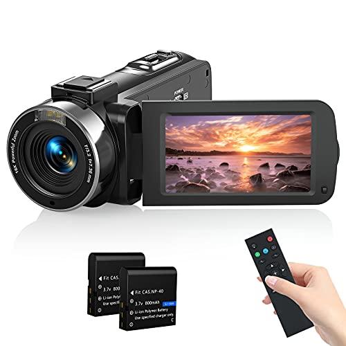 Videocámara Camcorder 1080P 36MP,MELCAM Vlogging Cámara IR Visión Nocturna para Youtube,Videocámara Full HD 3.0' Pantalla IPS 16X Zoom Digital con Control Remoto