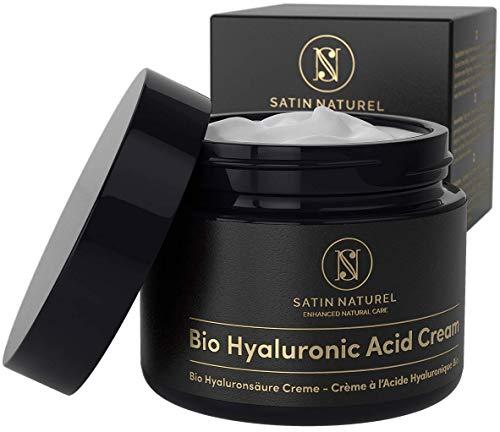 Crema Facial de Acido Hialuronico Puro ORG�NICA 50 ml - Vegano de Alta Calidad - Crema Antiarrugas para Mujer con Aloe Vera y Vitamina E - Usar con un Serum Facial - Cremas Faciales