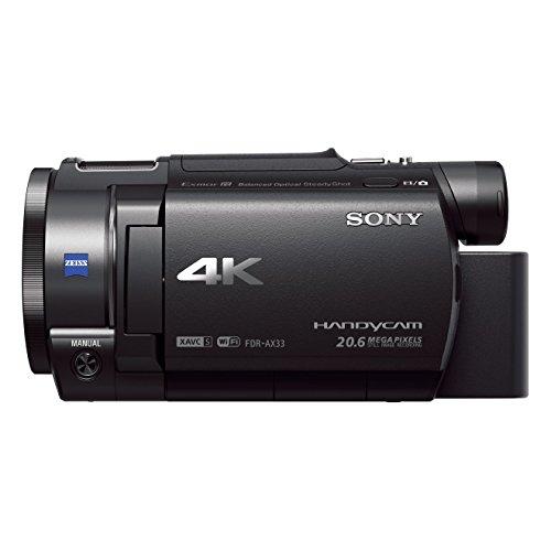 Sony Handycam FDR-AX33 4KUHD - Videocámara (pantalla de 3', zoom óptico 10x, estabilizador óptico), negro