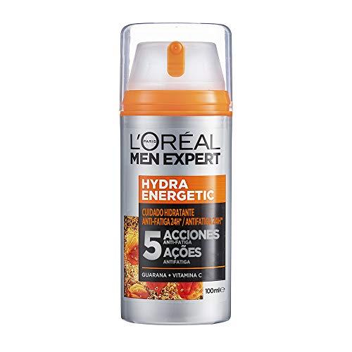 L'Oréal Men Expert Crema Hidratante Anti-Fatiga 24h Hydra Energetic para Hombres, Crema Facial de Uso Diario, Aporta Energía, Formato 100 ml