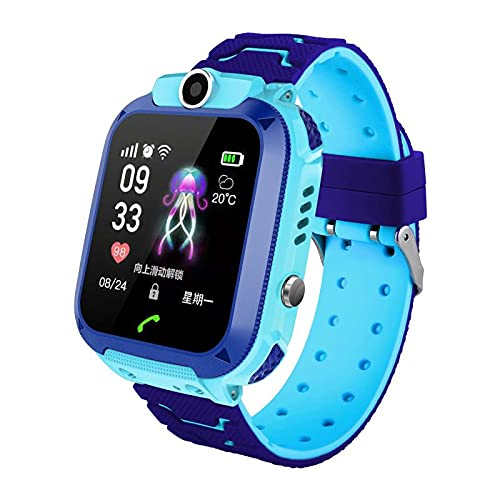 Reloj Inteligente para niños, LBS Rastreador Podómetro Impermeable cámara SOS Pantalla táctil HD Conversación Bidireccional Reloj Inteligente para niños, regalo para para Niños Niña 3-12 Años, Azul