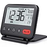 NOKLEAD Reloj Despertador Digital de Viaje - Mini Reloj Pantalla LCD portátil Calendario retroiluminado, Temperatura del Calendario Espejos cosméticos, Reloj de Escritorio Plegable (negro1)