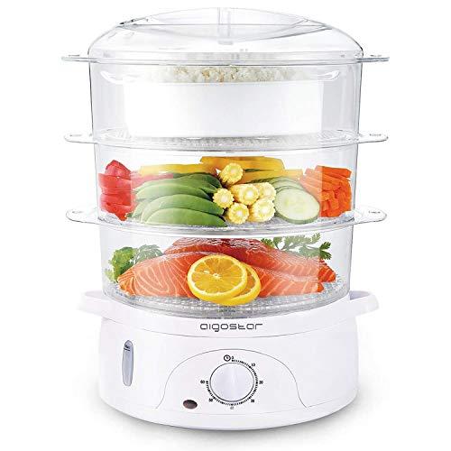 Aigostar Fitfoodie 30CFO - Vaporera Eléctrica 800 W, Libre de BPA, Temporizador hasta 60 Minutos. 3 Recipientes Apilables (Capacidad Total 9l), Cuenco para Preparar arroz. Diseño Exclusivo.