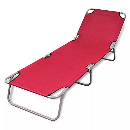 vidaXL Tumbona Plegable roja con Respaldo Ajustable