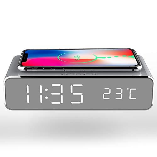 Reloj despertador de carga inalámbrica astilla de noche moderno reloj despertador digital 2 en 1 moderno reloj despertador digital con cargador inalámbrico Qi y termómetro