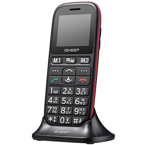 ISHEEP GSM/2G Teléfono móvil con Personas Mayores Teclas Grandes Pulgadas con botón SOS (Negro) (D102)