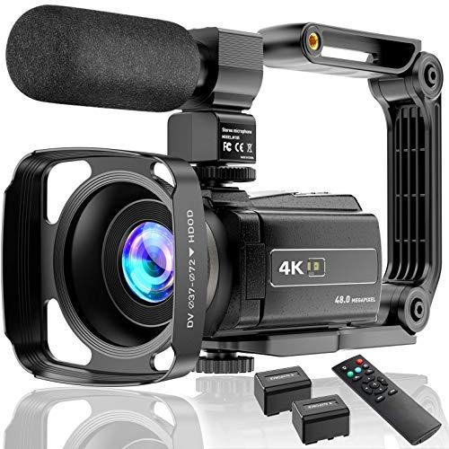 4K Videocámara UHD 48MP WiFi IR Night Vision Vlogging Cámara para YouTube Pantalla Táctil Grabadora de Cámara con Zoom Digital 16X con Micrófono, Estabilizador, Parasol para lente, Control, 2 baterías