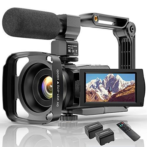 Videocámara 4K WiFi Cámara Digital UHD Vlogging Youtube Cámara,IR Visión Nocturna 48MP 3.0'IPS Pantalla Táctil Giratoria De 270 ° 16X Zoom Webcámara con Micrófono Estabilizador Control Remotol