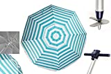 Sombrilla MORAIRA TUBO 25mmPlaya/jardín ANTI-VUELCO 2m Aluminio UPF+50 99% UV+ PINCHO con Punta de Aluminio Reforzado 16 Varillas