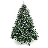 Yorbay - Árbol de Navidad Artificial Natural de Blanco Nevado, 120cm 390 Puntas Incluye Las Piñas y Soporte Metal, para Decoración Navideña Reutilizable