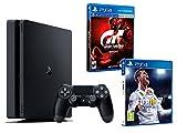 PS4 Slim 1Tb Negra Playstation 4 Consola - Pack 2 Juegos - FIFA 18 + Gran Turismo Sport GT Sport