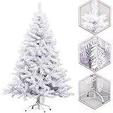Hengda® Árbol de Navidad Artificial PINOS único Árbol Decorativo con soporte metálico Christmas 180CM Blanco con 650ramas material PVC