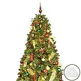 BusyBee Árbol de Navidad Artificial de 180 cm con 240 Luces LED y 107 Decoraciones navideñas de Oro y borgoña, incluidos los Gadgets de árbol de Navidad Luces LED de Cuerda USB