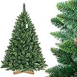 FairyTrees Árbol de Navidad Artificial Pino, Natural Verde, Material PVC, Las piñas verdaderas, el Soporte de Madera, 180cm, FT03-180