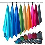 Toalla de microfibra – en todos los tamaños, 12 colores – compacta, ultraligera y de secado rápido – microfibra toalla – toalla de viaje y toalla microfibra gimnasio (50x100cm azul marino + bolsa)