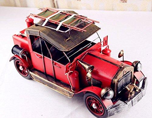ZYRD Ideas de decoración para el hogar artesanías de metal estaño Vintage remitir un camión de bomberos modelo nostalgia regalos , 36*15.2*18.5cm