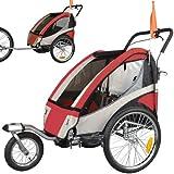 Remolque de bici para niños completamente amortiguado con kit de footing, color: rojo 504S-01
