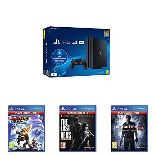 Playstation 4 Pro (PS4) - Consola de 1TB + 20 live card (Edición Exclusiva Amazon) + Uncharted 4: El Desenlace Del Ladrón Hits + The Last of Us Hits + Ratchet & Clank Hits