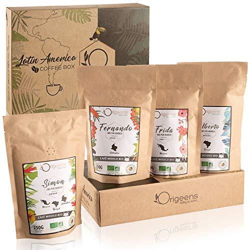 ☘️ CAJITA CAFÉ MOLIDO ECOLOGICO | Caja café degustación, 4x250g, Torrefactado Artesanal | Café ecológico molido Arábica | Idea para Regalar