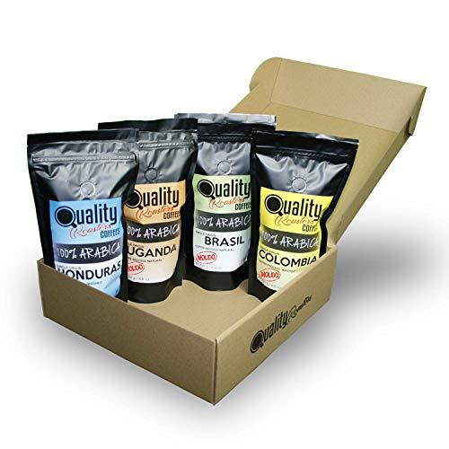 Café Molido. Quality Roasters Coffees. 100% Arabica. Pack regalo y degustación. Molido fino. 4 orígenes: Colombia, Uganda, Brasil, Honduras. 4x250g. Tostado artesanal.