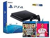 PS4 Slim 1Tb Negra Playstation 4 Consola + FIFA 20 + GTA V Grand Theft Auto 5 Premium Edition